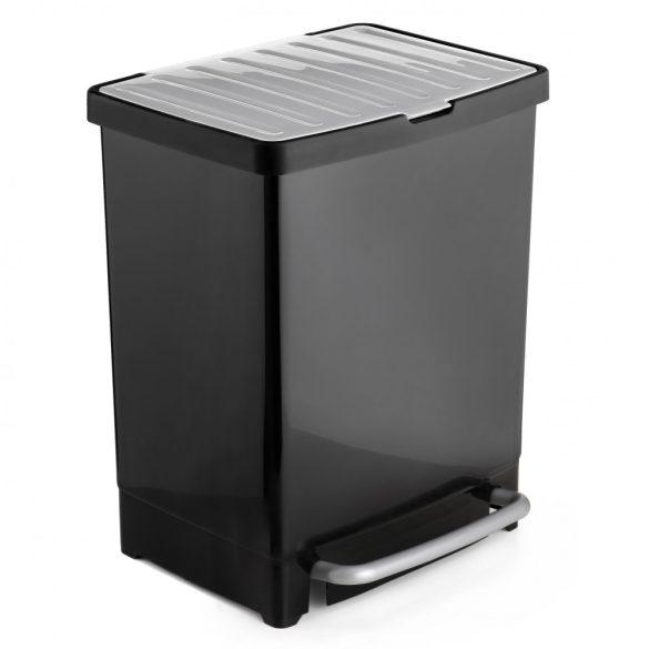 Pedálos szemetes, szelektív hulladékgyűjtéshez, fekete