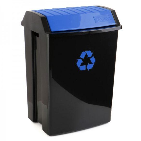 Billenő tetős szemetes, szelektív hulladékgyűjtéshez, fekete/kék