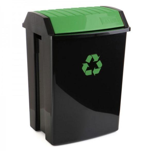 Billenő tetős szemetes, szelektív hulladékgyűjtéshez, fekete/zöld