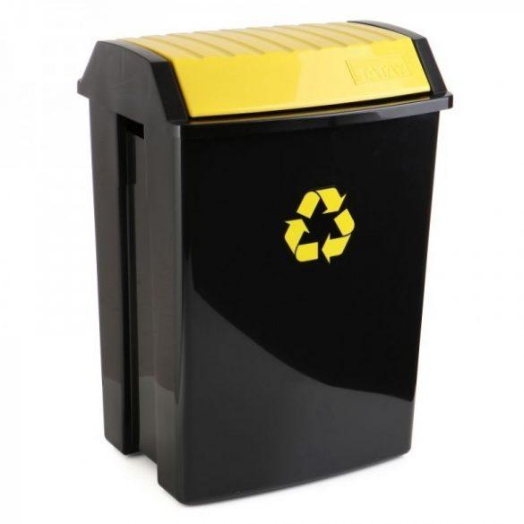 Billenő tetős szemetes, szelektív hulladékgyűjtéshez, fekete/sárga