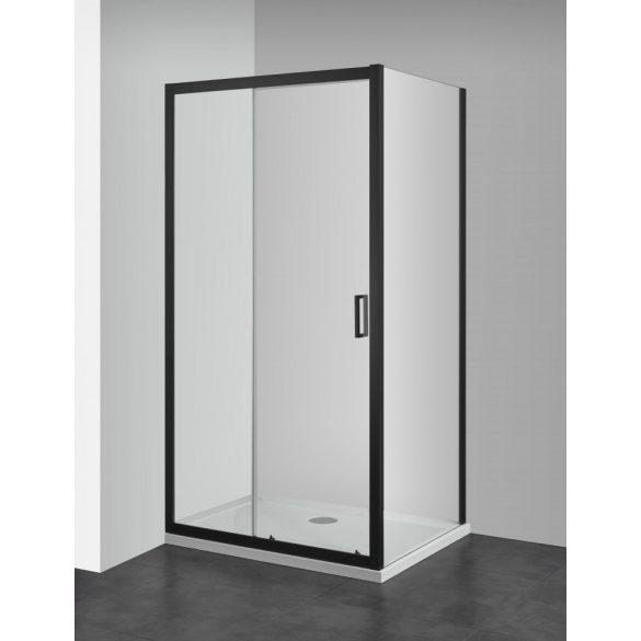 ELITE BLACK aszimmetrikus szögletes sarok zuhanykabin tolóajtóval