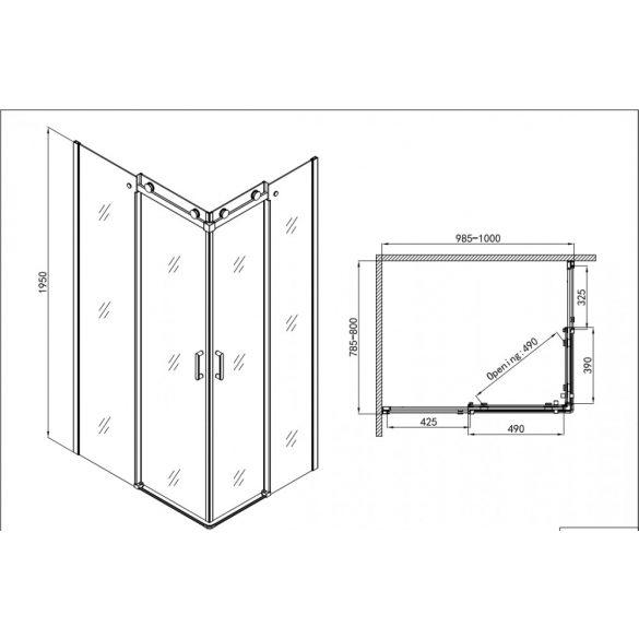 ELEGANCE aszimmetrikus sarokkabin 2 tolóajtóval (6 mm)