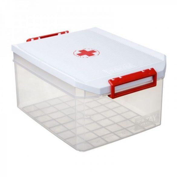 Gyógyszeres doboz, biztonsági záras tetővel, 14 liter