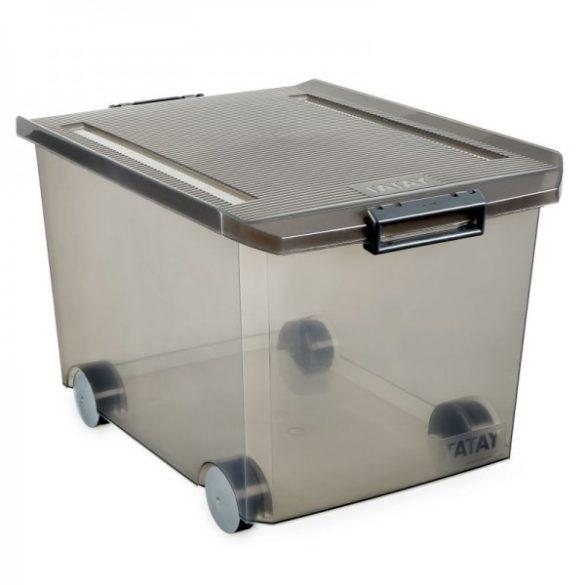 Kerekes tárolódoboz, áttetsző füstszínű, biztonsági záras tetővel, 60 liter