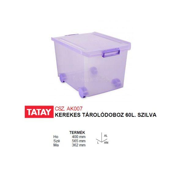 Kerekes tárolódoboz, áttetsző szilva színű, biztonsági záras tetővel, 60 liter