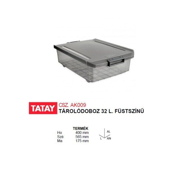 Tárolódoboz, áttetsző füstszínű, biztonsági záras tetővel, 32 liter