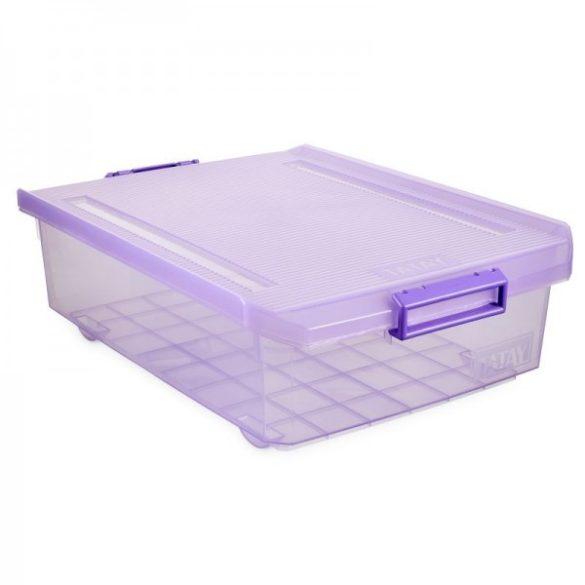 Tárolódoboz, áttetsző szilva színű, biztonsági záras tetővel, 32 liter