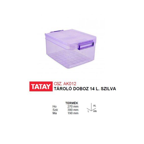 Tárolódoboz, áttetsző szilva színű, biztonsági záras tetővel,14 liter