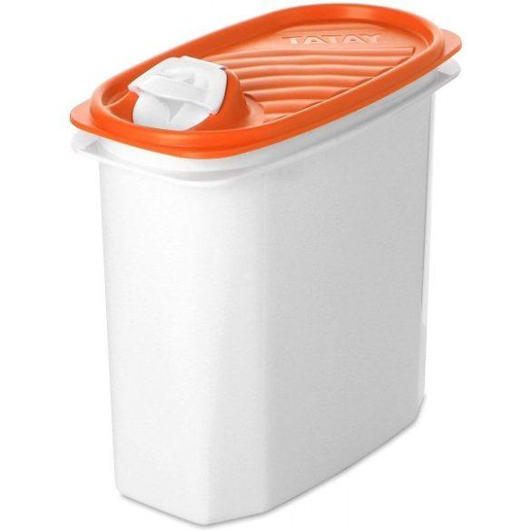 Konyhai tárolódoboz narancssárga tetővel, kiöntő / szórókupakkal, 2 liter