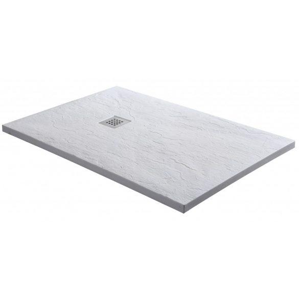 KRETA aszimmetrikus öntött márvány zuhanytálca, fehér
