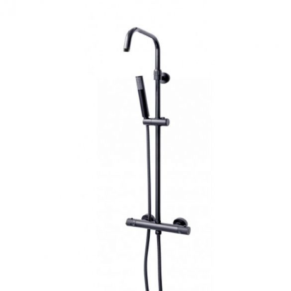 Sínes zuhanyszett termosztátos csapteleppel, fekete