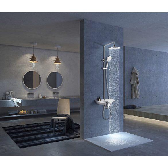 Zuhanyszett esőztető fejzuhannyal, kádtöltővel, fekete