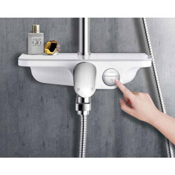Zuhanyszett esőztető fejzuhannyal, kádtöltővel, fehér