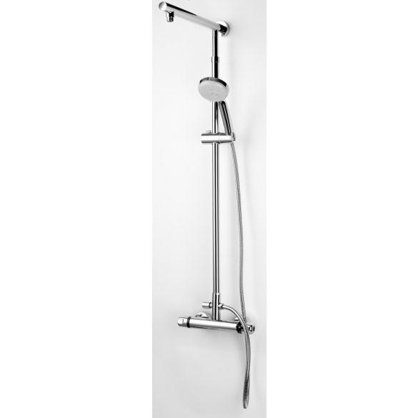 Sínes zuhanyszett, termosztátos csapteleppel, 5 funkciós, króm
