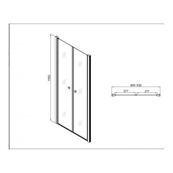ELEGANCE kétszárnyas lengőajtó (6 mm)