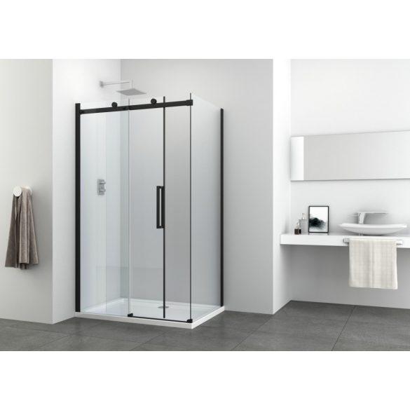 COMFORT BLACK aszimmetrikus szögletes sarok zuhanykabin tolóajtóval