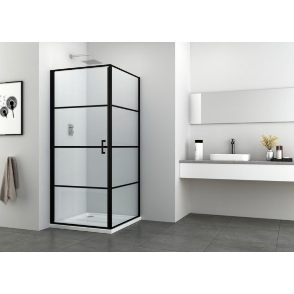 ELITE BLACK szögletes sarok zuhanykabin nyílóajtóval