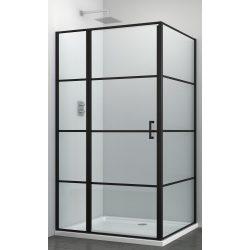 ELITE BLACK aszimmetrikus szögletes sarok zuhanykabin osztott nyílóajtóval