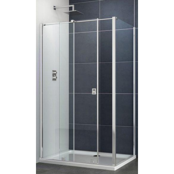 PRESTIGE aszimmetrikus szögletes sarok zuhanykabin osztott tolóajtóval