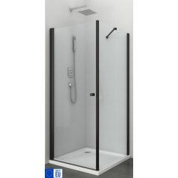 BRAVA BLACK I szögletes sarok zuhanykabin lengőajtóval
