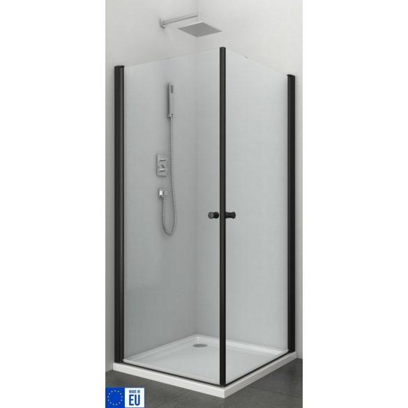 BRAVA BLACK II szögletes sarok zuhanykabin két lengőajtóval