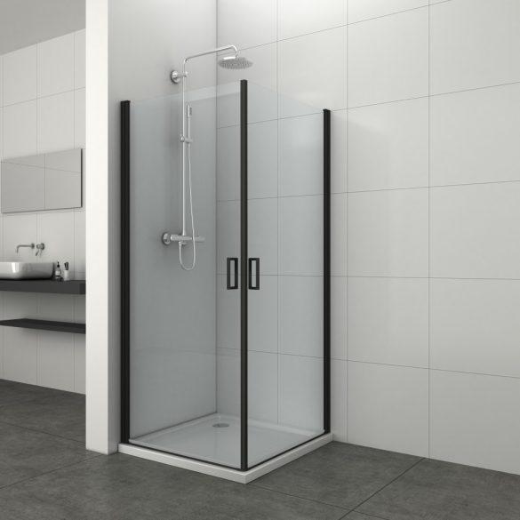 ELITE BLACK szögletes sarok zuhanykabin két lengőajtóval
