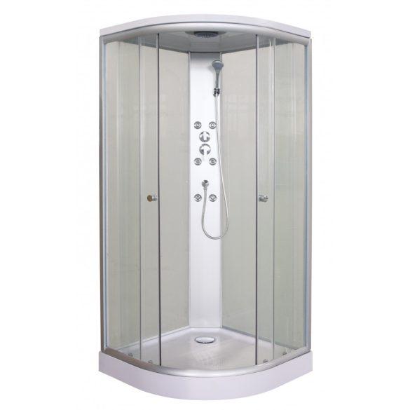 PUNTO hidromasszázs zuhanykabin, fehér hátfallal
