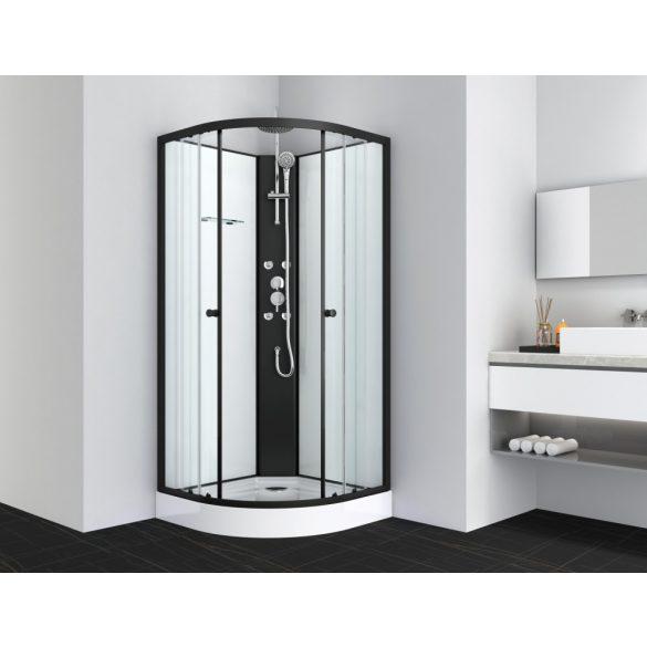 RELOAD hidromasszázs zuhanykabin, íves, fekete