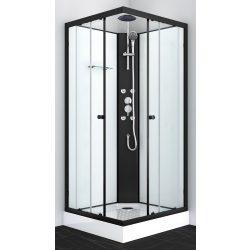 STIL 2 hidromasszázs zuhanykabin, szögletes, fekete