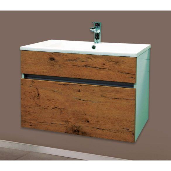 STELLA 75 függesztett mosdóhely, antik tölgy, kerámiamosdóval