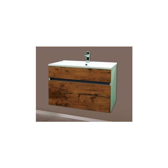 STELLA 80 alsóbútor, függesztett, antik tölgy, kerámiamosdóval