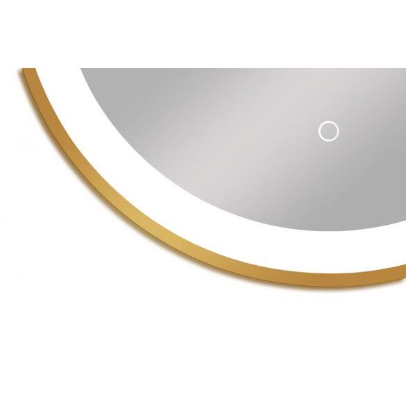Tükör indirekt LED-es megvilágítással, érintőkapcsolóval, Ø 60 cm