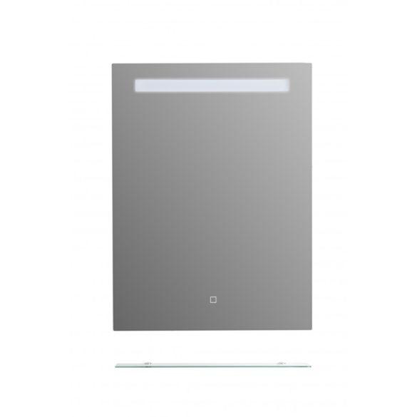 Tükör indirekt LED-es megvilágítással, érintőkapcsolóval, üvegpolccal, 60 × 80 cm