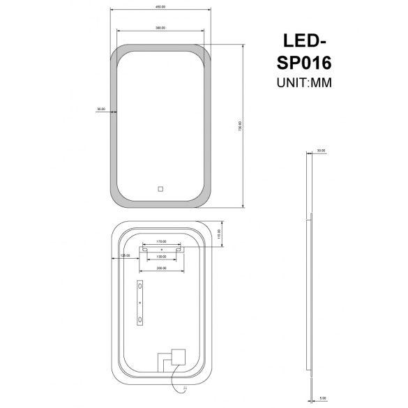 Tükör indirekt LED-es megvilágítással, érintőkapcsolóval, 45 × 73 cm