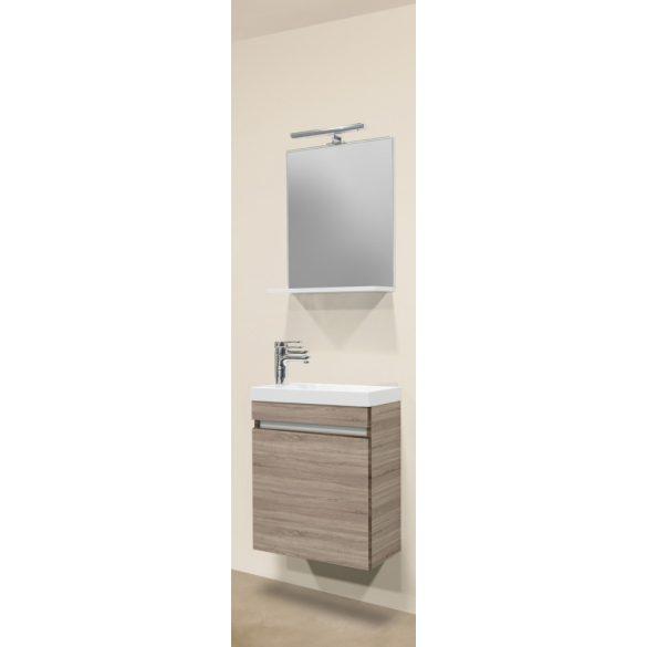 NORA 48 alsóbútor szett, függesztett, tölgy, öntött márvány mosdóval