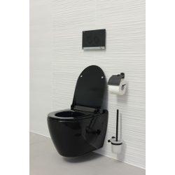 """UNO perem nélküli fali WC slim """"soft close"""" ülőkével, fekete"""