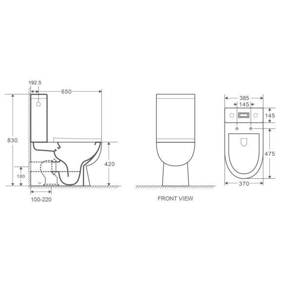 """MONO perem nélküli monoblokkos WC slim """"soft close"""", easy quick ülőkével"""