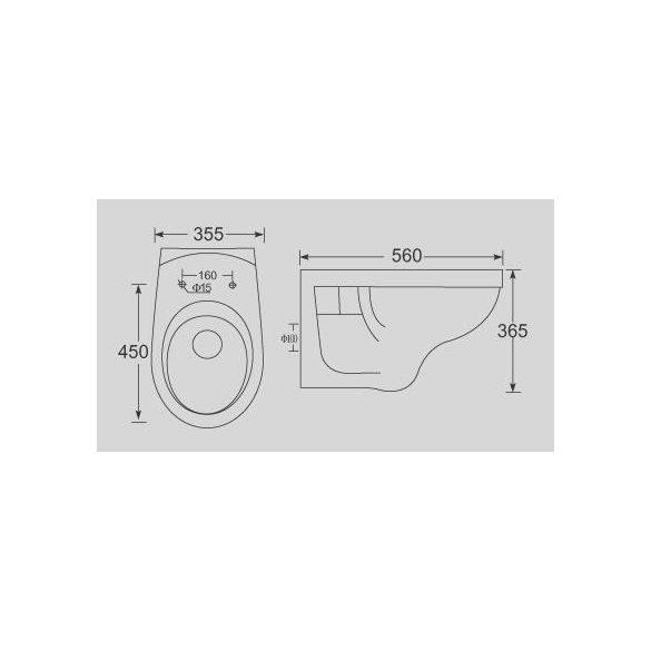 SANO-BASIC fali WC, ülőke nélkül